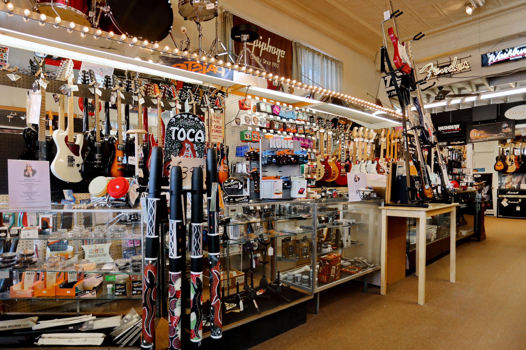 Interior image of a local music store