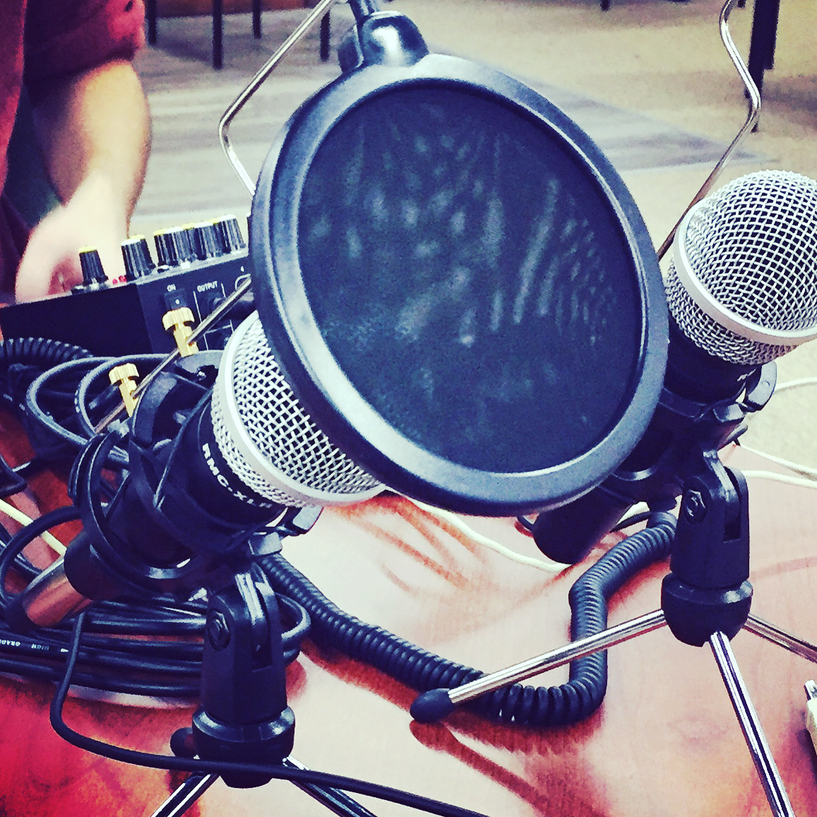 This is a picture of some of our podcasting equipment including microphones