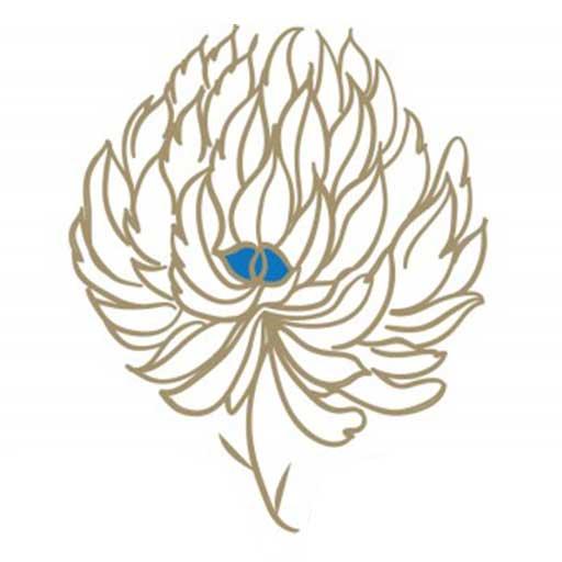 Logo Image for SMGraves Associates. Gold Clover blossom with small blue center.