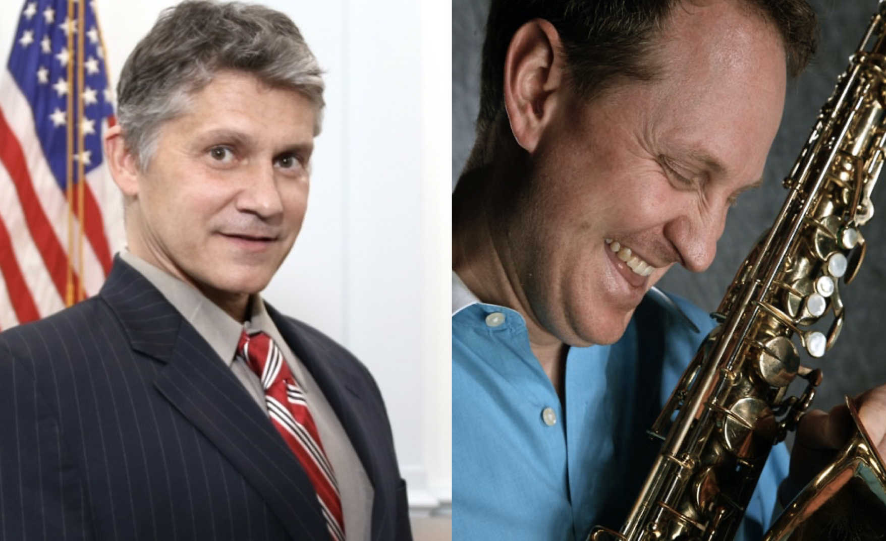 Combined image of Scott J. Graves on the left, American flag in the background and Scott M. Graves with saxophone in hand on the right.