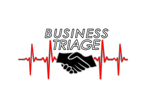 Logo for SMGraves Associates Business Triage Program, two black hands shaking in front of a medical scan with words Business Triage above