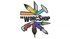 Official Logo of The Worcshop, a colorful rondel of various tools surrounding the name in black block letters
