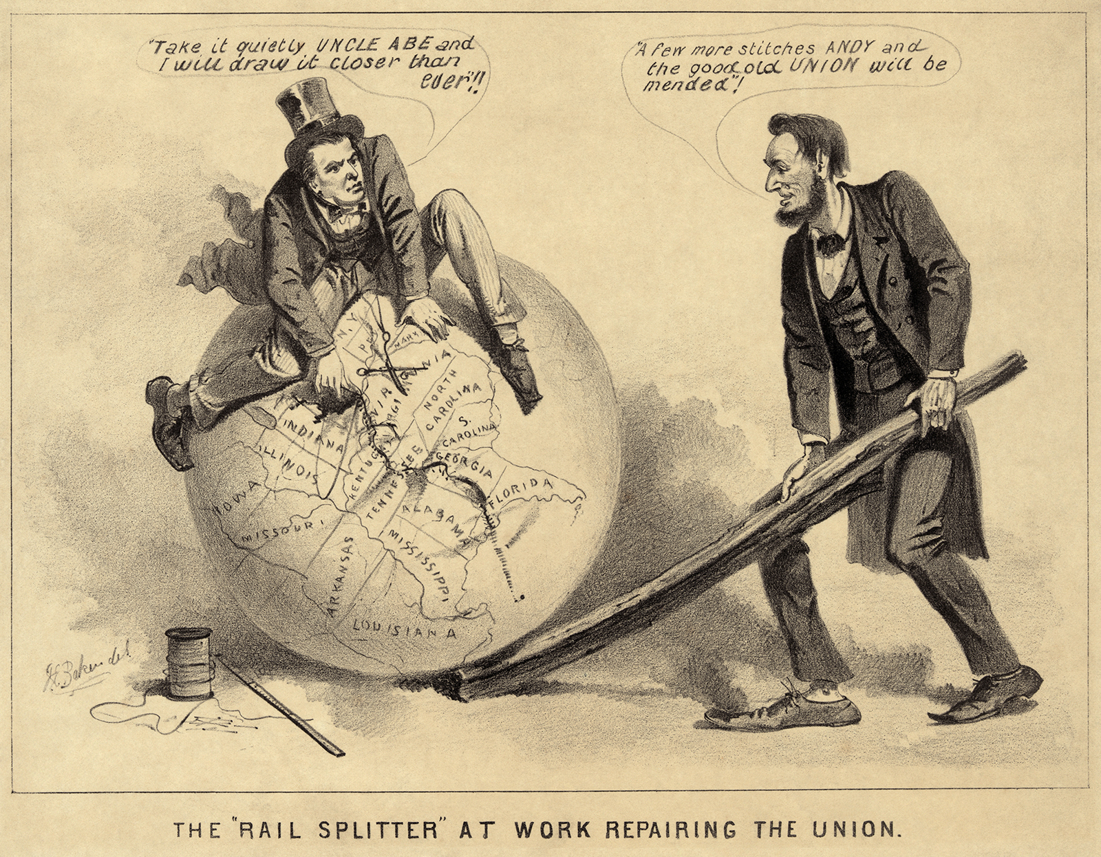 Historic Imagery from Early Unites States Reconstruction, a newsprint political cartoon of Abraham Lincoln and Andrew Johnson