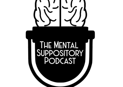 Logo for the Mental Suppository Podcast. Brain inside a 1950's era microphone. Black and White