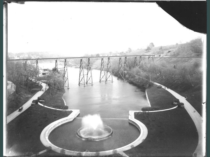Wachusett Resevoir Spillway with Train Trestle. Photo in B&W taken circa early 20th century