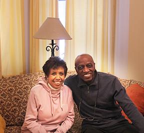 Host of The Jazz Room Joan Watson Jones alongside guest Reggie Workman
