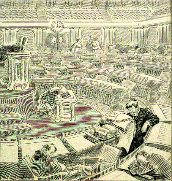 Cartoon depicting a Senate filibuster by artist John T. McCutcheon, published in the Chicago Tribune, May 26, 1928. credit: Library of Congress