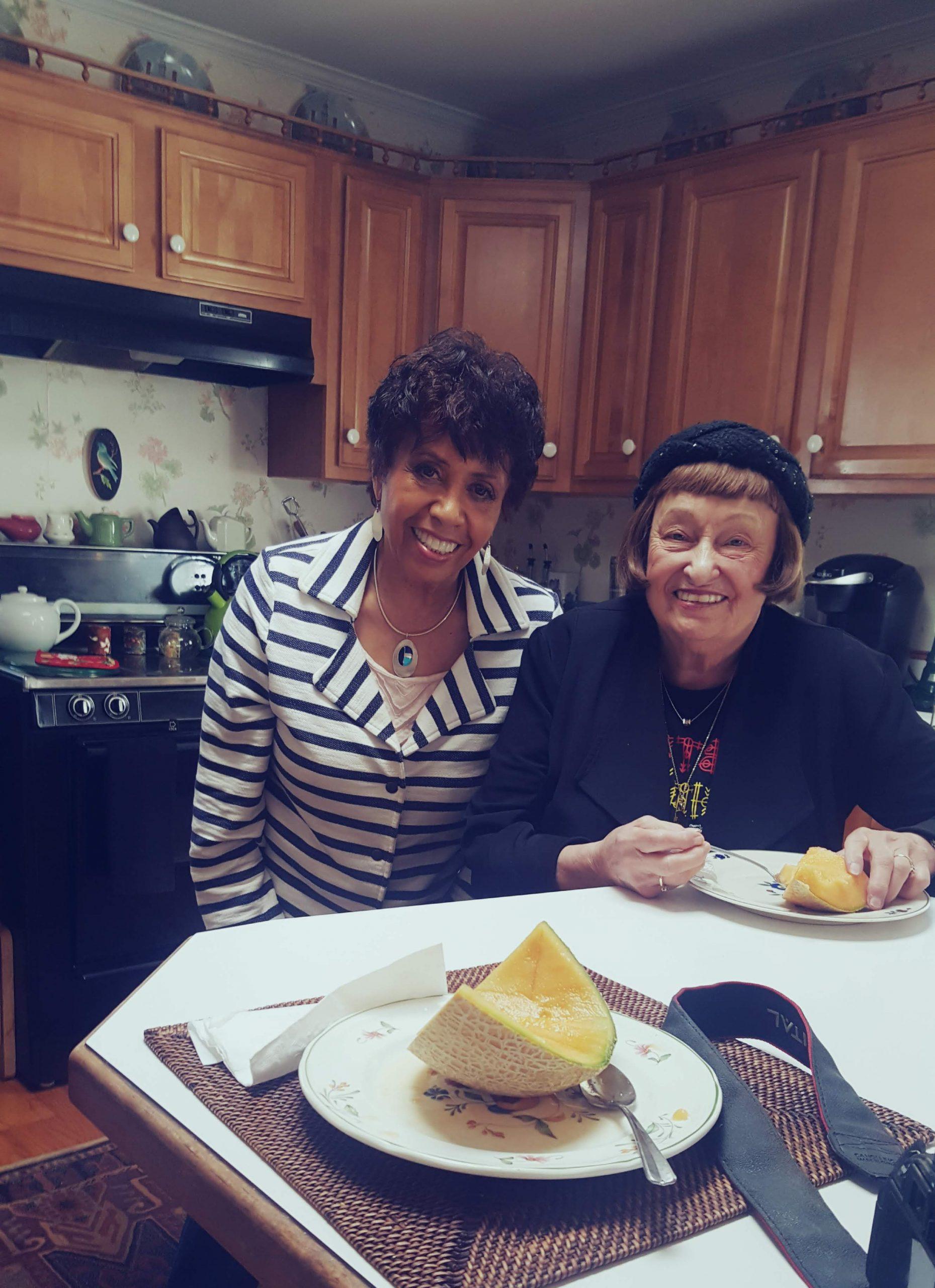 Candid shot of Host Joan Watson Jones and the great jazz vocalist Sheila Jordan