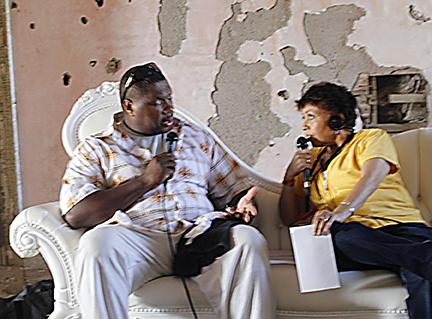 Wycliffe Gordon and host Joan Watson-Jones at Newport Jazz Festival. Used with permission of Joan Watson-Jones