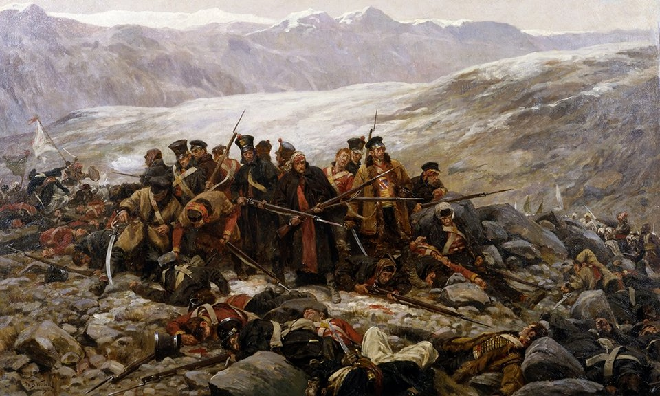 Full Color image of landscape painting: British Last Stand during the retreat from Kabul, 1842