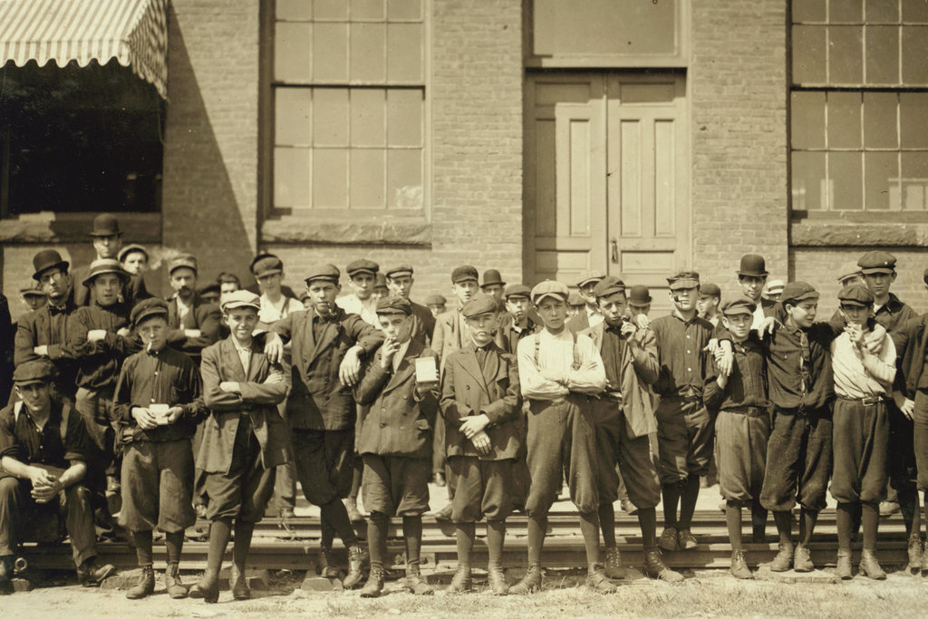 Mill workers. Indian Orchard, MA in 1911. Picture is Mainly of Children and was taken for the US government to document child labor