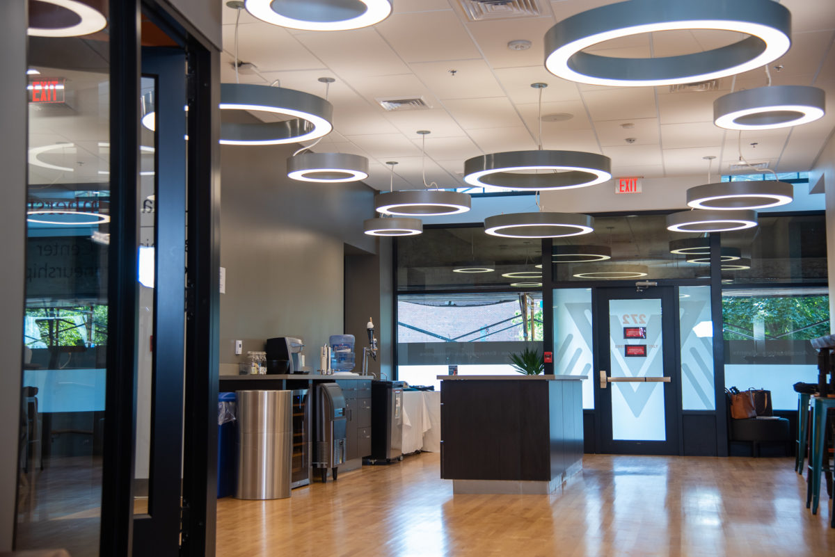 Full color interior shot of Valley Venture Hub, co-working environment in downtown Springfield, MA