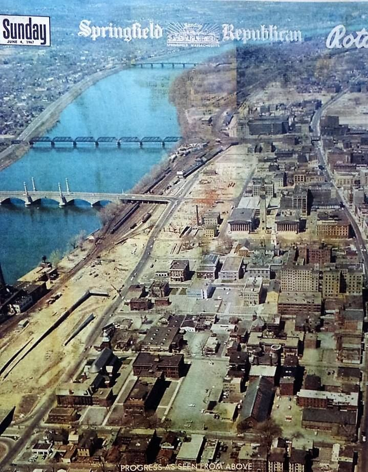 Springfield, MA circa 1960 aerial view with Connecticut River to the left