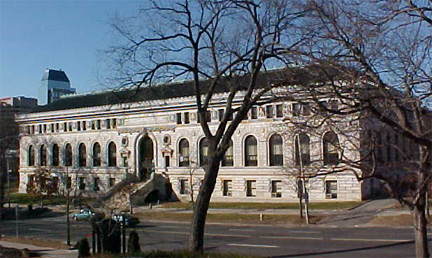 Main Branch Library Springfield, MA Full Color Photo. The 'stored' is seen in the foreground