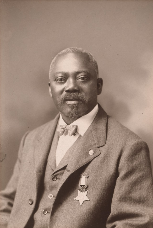 A sepia-tone of Medal of Honor recipient and US Civil War veteran William T. Carney