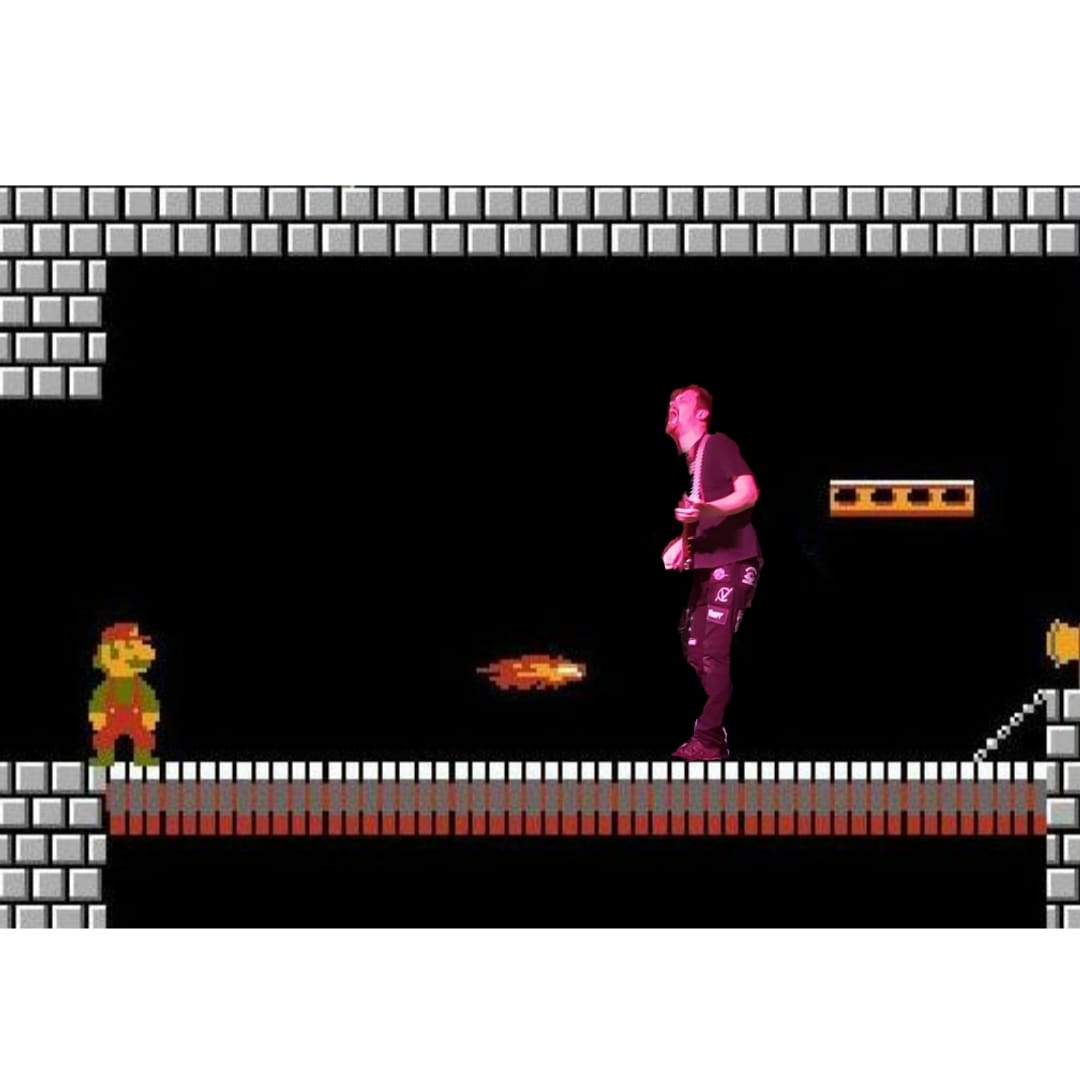 Special Full Color Hippocrisis imagery of guitarist super-imposed on a video game.
